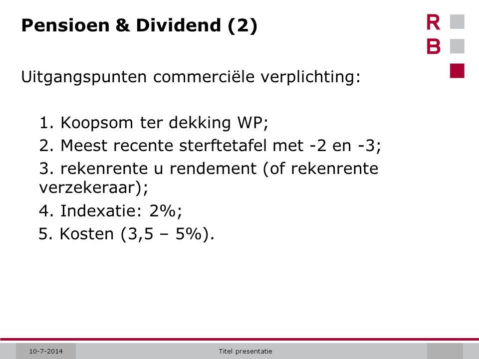 Pensioen & Dividend (2) Uitgangspunten commerciële verplichting:
