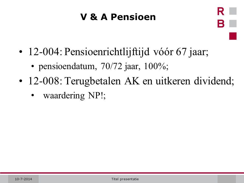 12-004: Pensioenrichtlijftijd vóór 67 jaar;