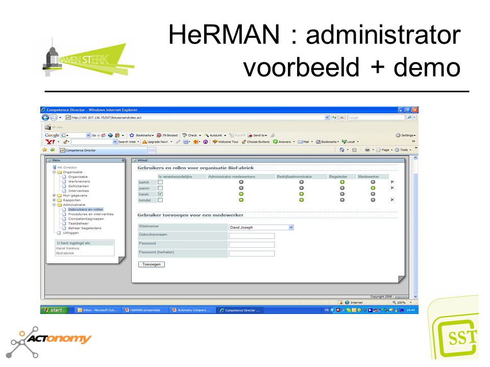 HeRMAN : administrator voorbeeld + demo