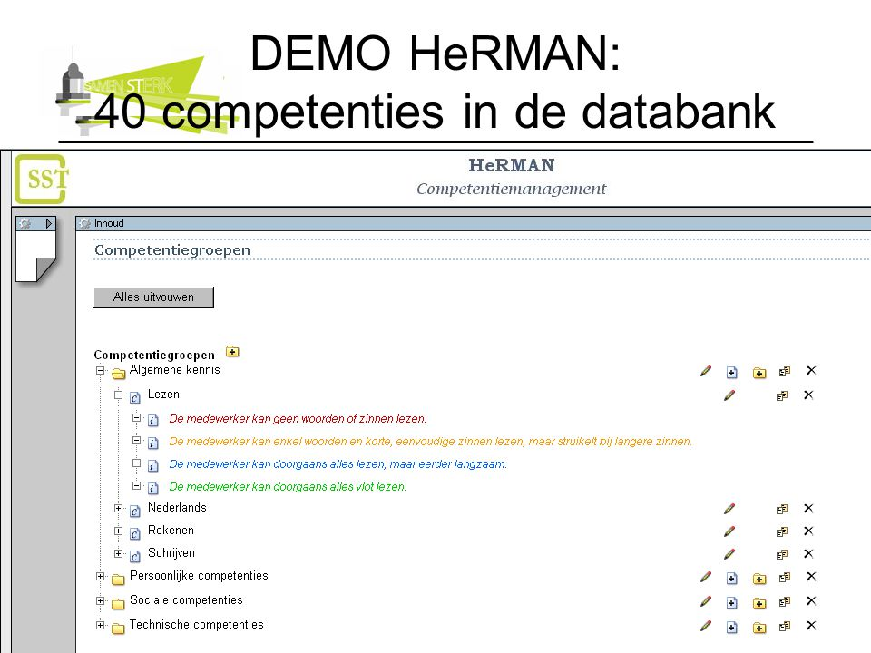 DEMO HeRMAN: 40 competenties in de databank