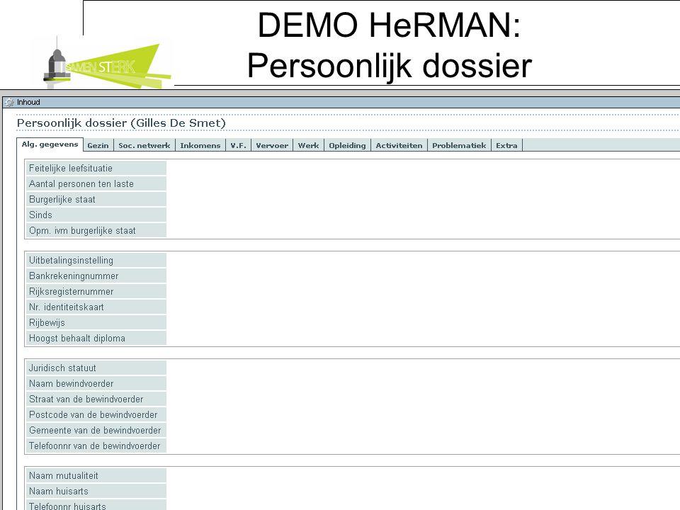 DEMO HeRMAN: Persoonlijk dossier