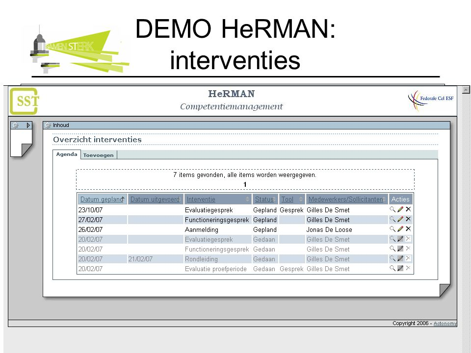 DEMO HeRMAN: interventies
