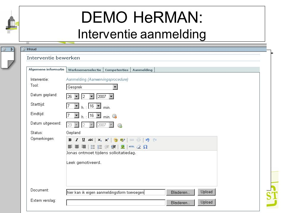 DEMO HeRMAN: Interventie aanmelding