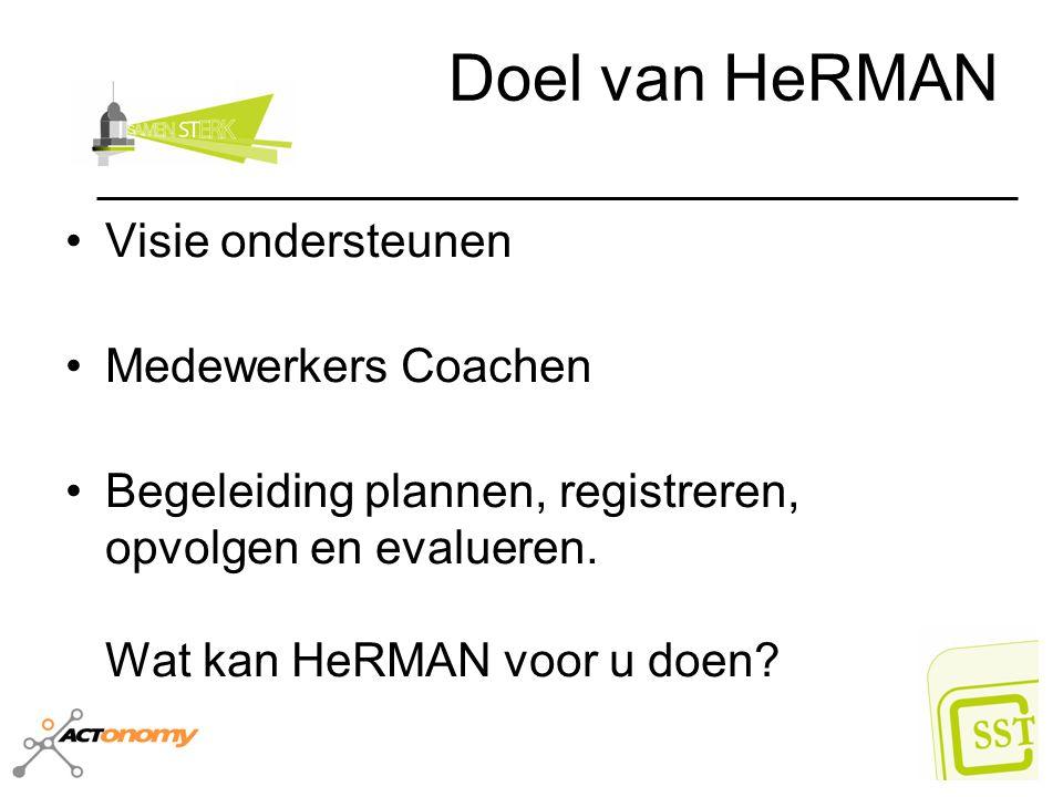 Doel van HeRMAN Visie ondersteunen Medewerkers Coachen