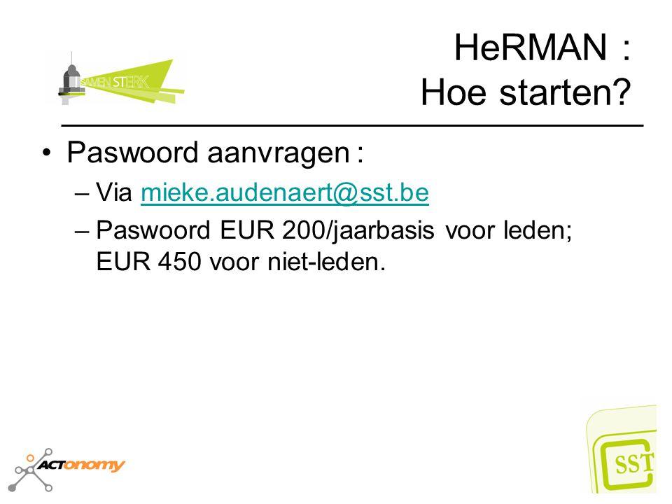 HeRMAN : Hoe starten Paswoord aanvragen : Via mieke.audenaert@sst.be