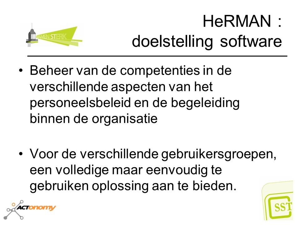 HeRMAN : doelstelling software