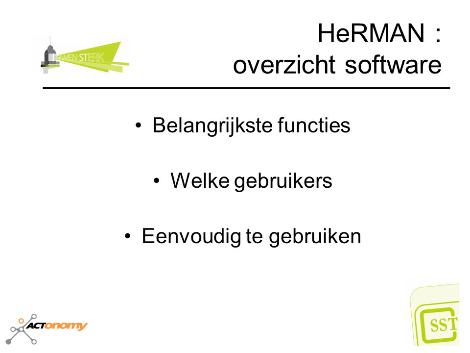 HeRMAN : overzicht software