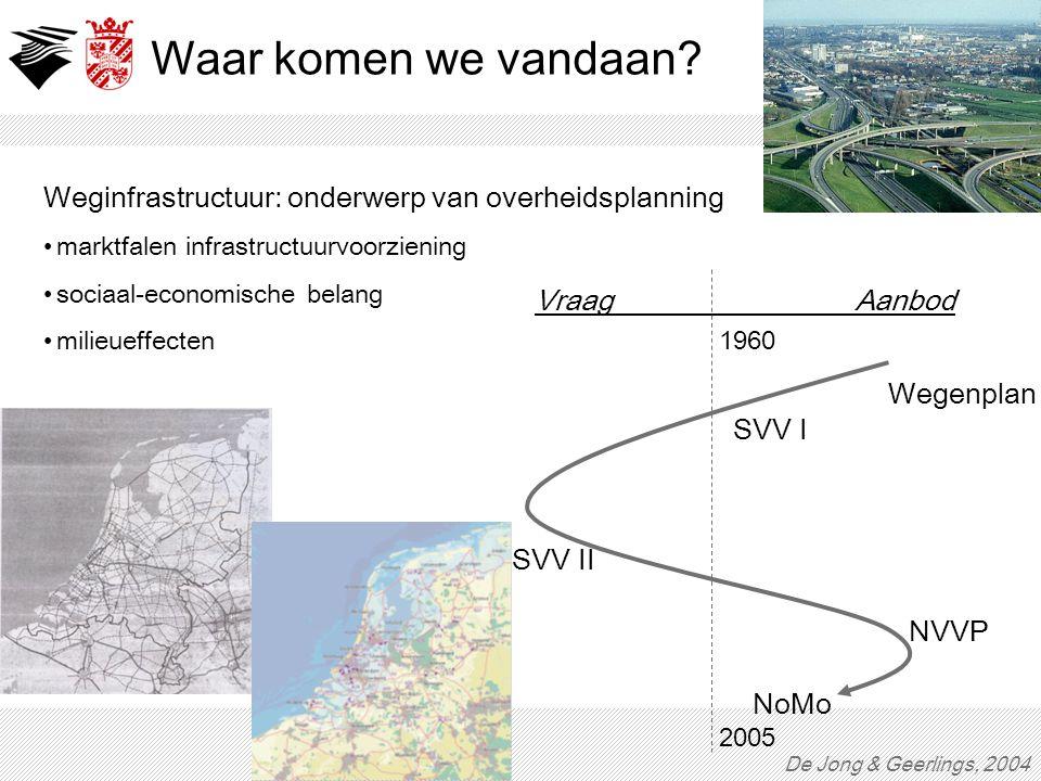 Waar komen we vandaan Weginfrastructuur: onderwerp van overheidsplanning. marktfalen infrastructuurvoorziening.