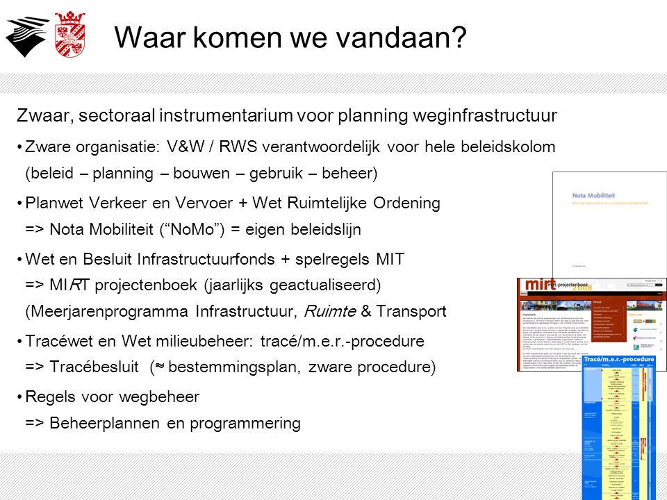 Waar komen we vandaan Zwaar, sectoraal instrumentarium voor planning weginfrastructuur.
