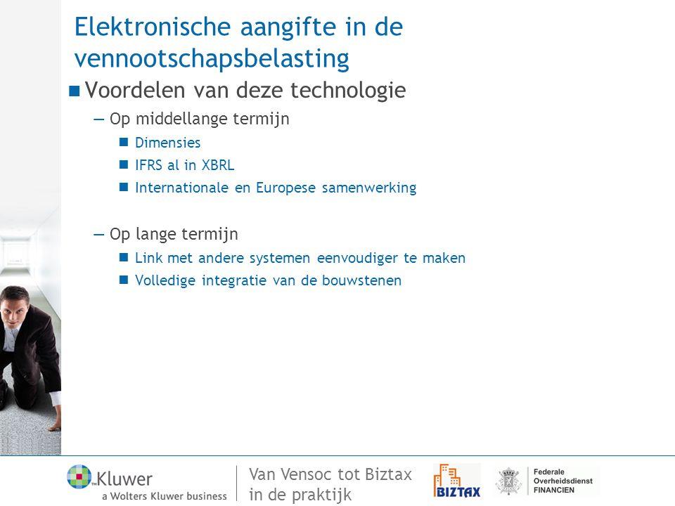 Elektronische aangifte in de vennootschapsbelasting
