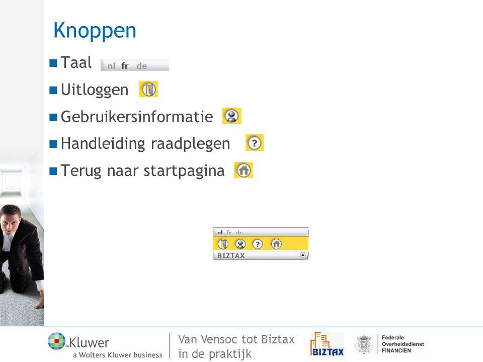 Knoppen Taal Uitloggen Gebruikersinformatie Handleiding raadplegen