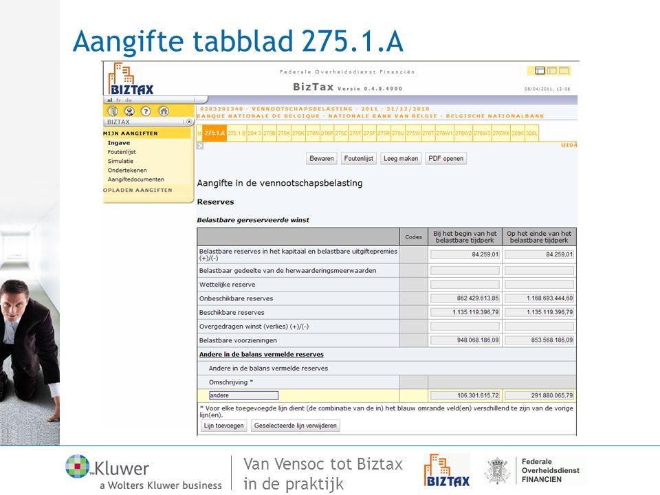 Aangifte tabblad 275.1.A