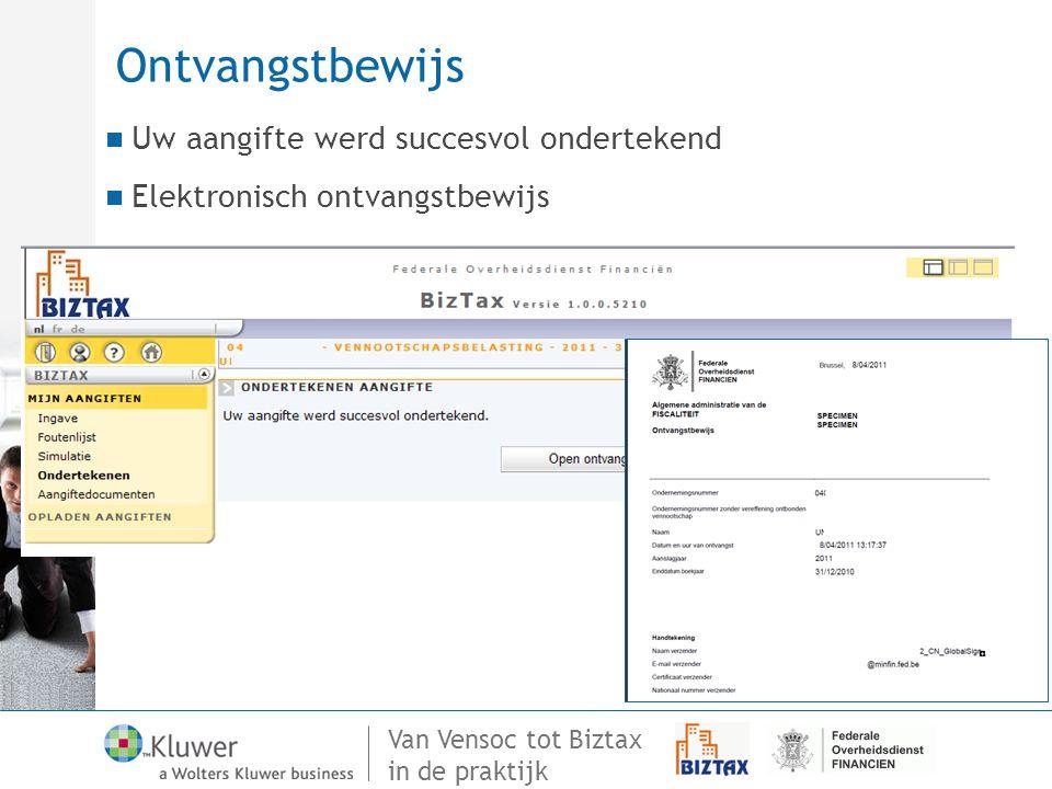 Ontvangstbewijs Uw aangifte werd succesvol ondertekend