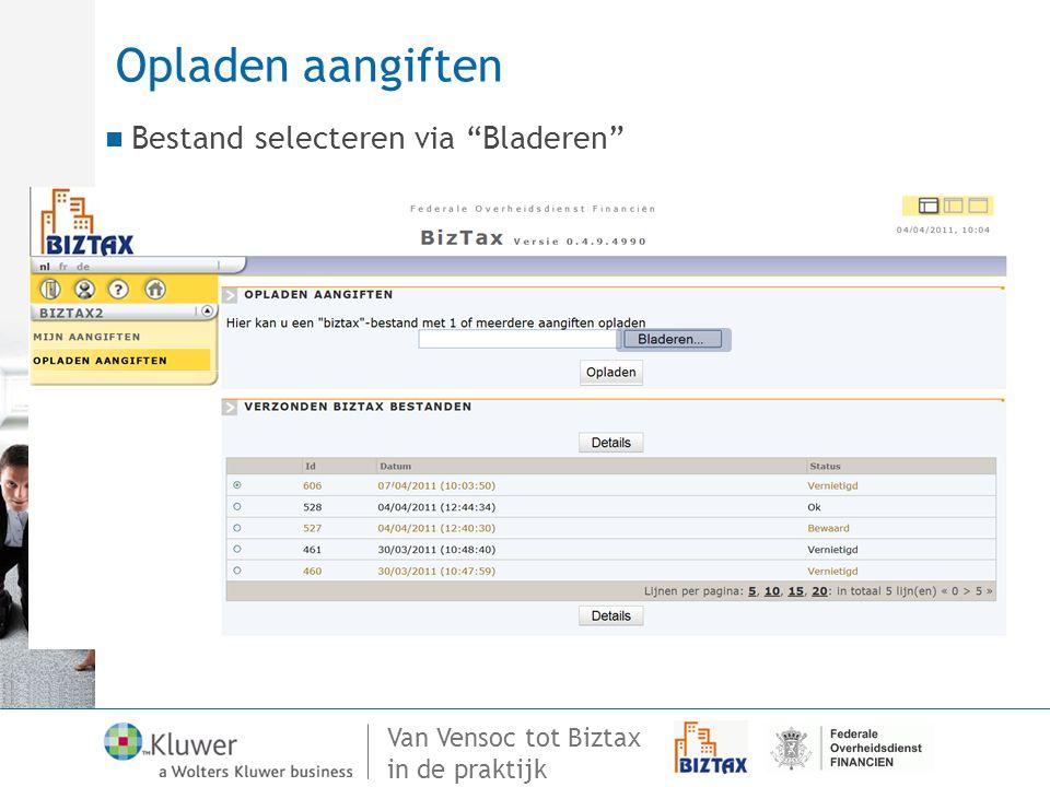 Opladen aangiften Bestand selecteren via Bladeren 70