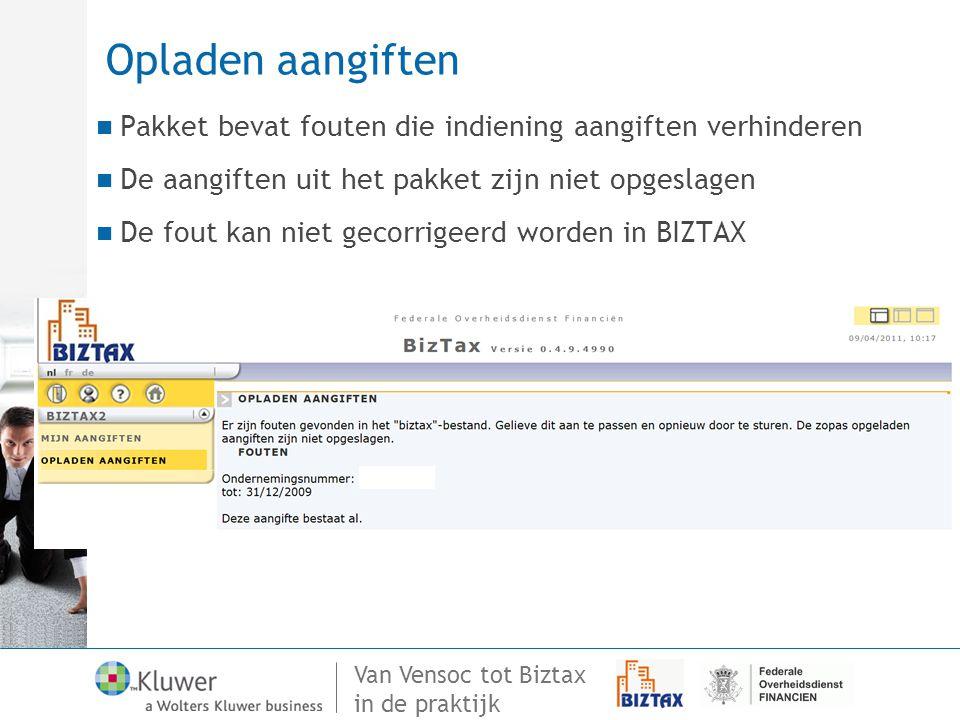 Opladen aangiften Pakket bevat fouten die indiening aangiften verhinderen. De aangiften uit het pakket zijn niet opgeslagen.