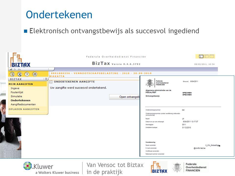 Ondertekenen Elektronisch ontvangstbewijs als succesvol ingediend