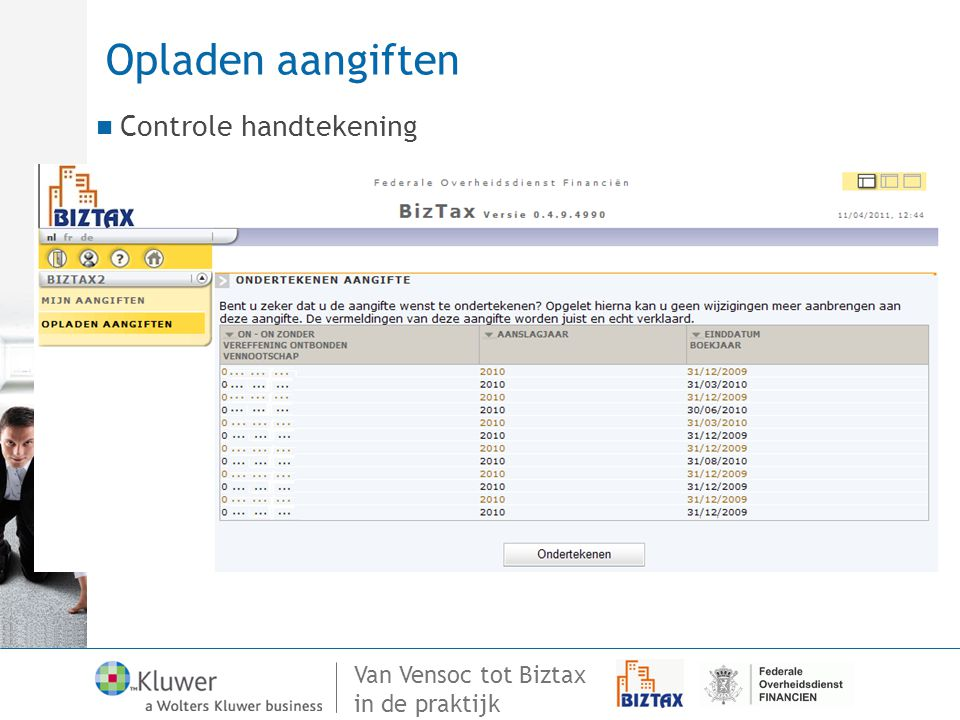 Opladen aangiften Controle handtekening 98