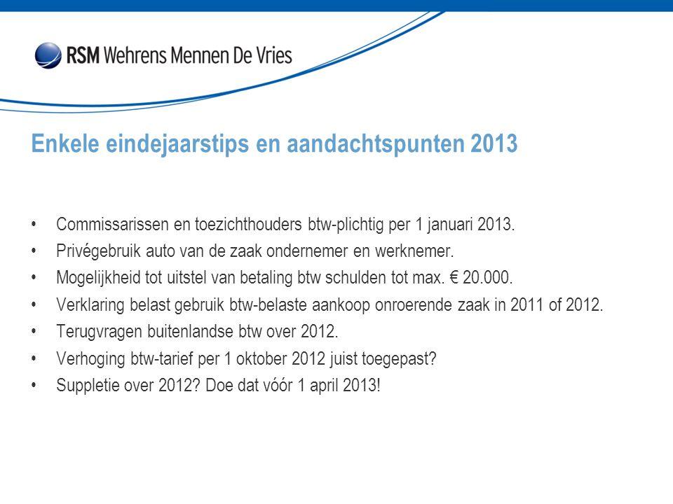 Enkele eindejaarstips en aandachtspunten 2013