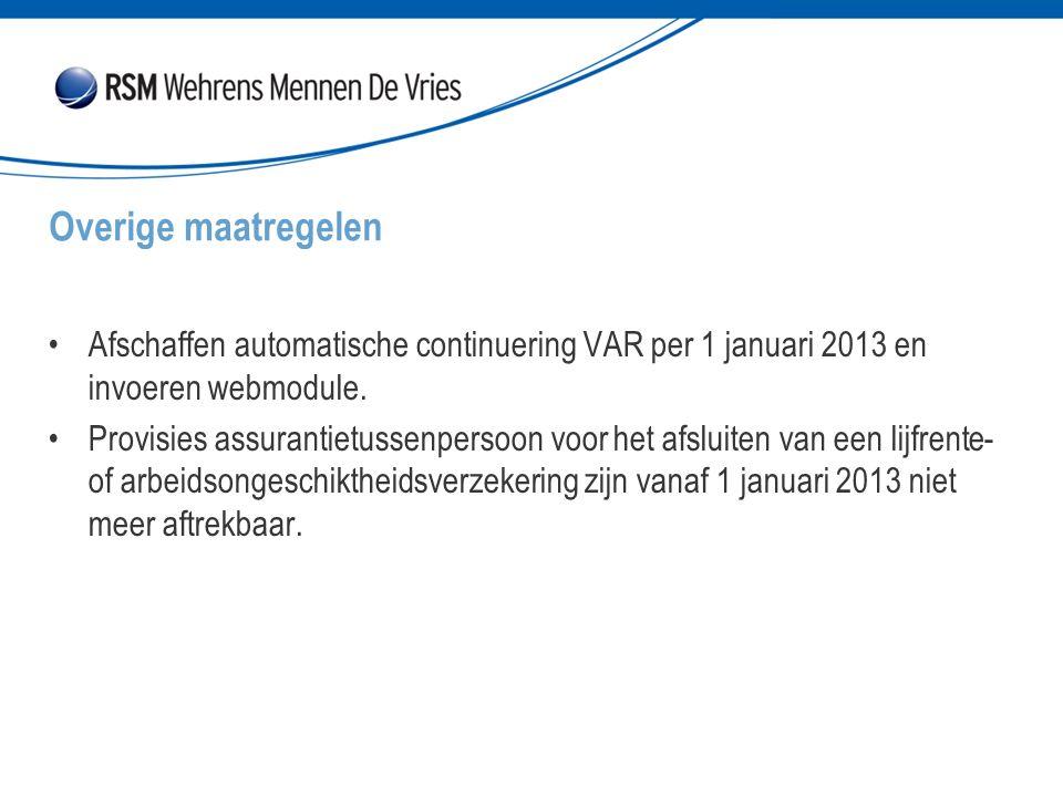 Overige maatregelen Afschaffen automatische continuering VAR per 1 januari 2013 en invoeren webmodule.