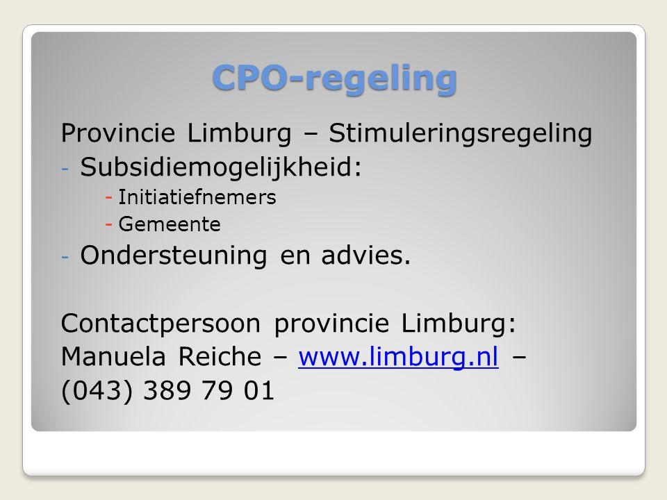 CPO-regeling Provincie Limburg – Stimuleringsregeling