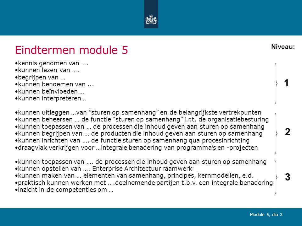 Eindtermen module 5 1 2 3 Niveau: kennis genomen van ….