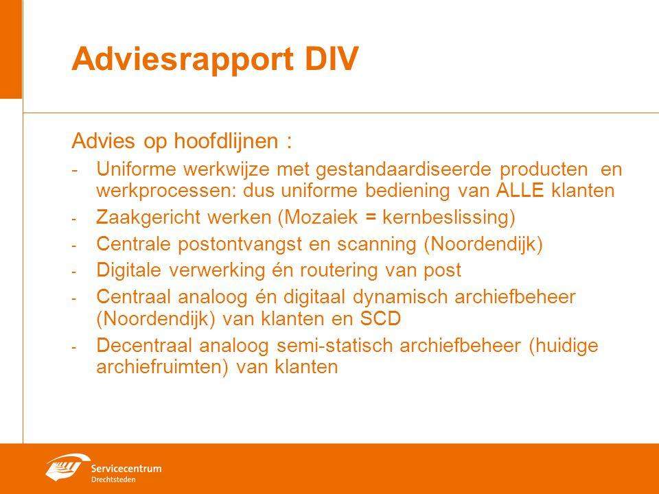 Adviesrapport DIV Advies op hoofdlijnen :
