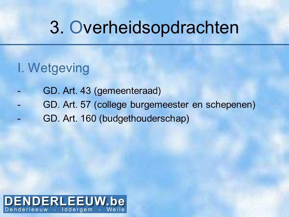 3. Overheidsopdrachten I. Wetgeving GD. Art. 43 (gemeenteraad)