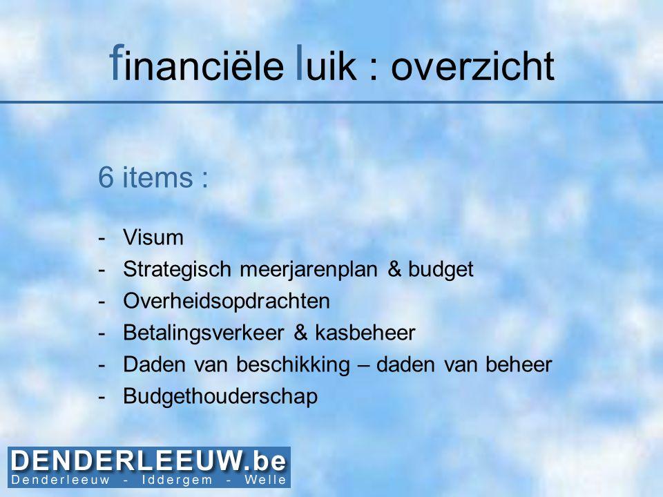 financiële luik : overzicht