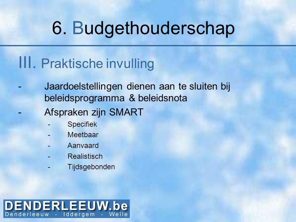 6. Budgethouderschap III. Praktische invulling