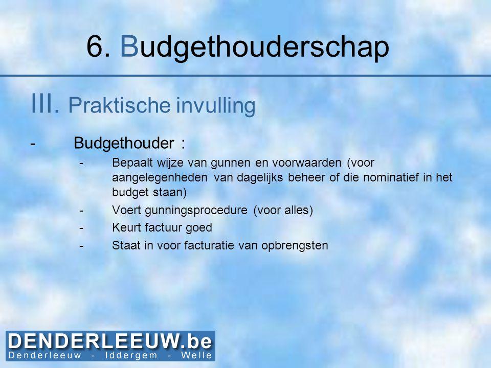 6. Budgethouderschap III. Praktische invulling Budgethouder :