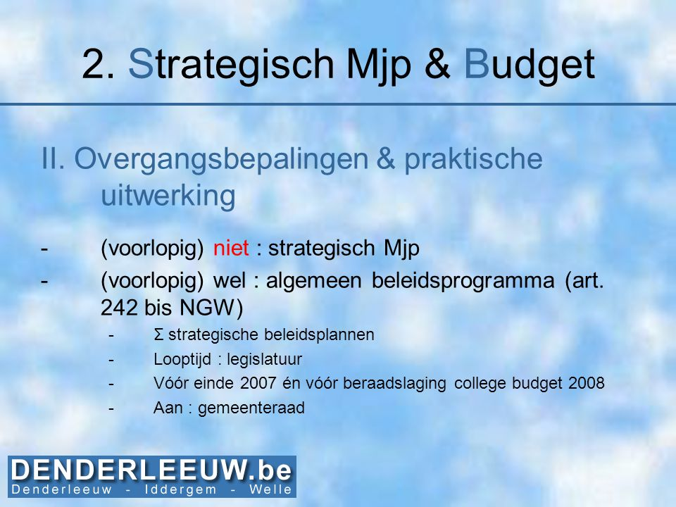 2. Strategisch Mjp & Budget