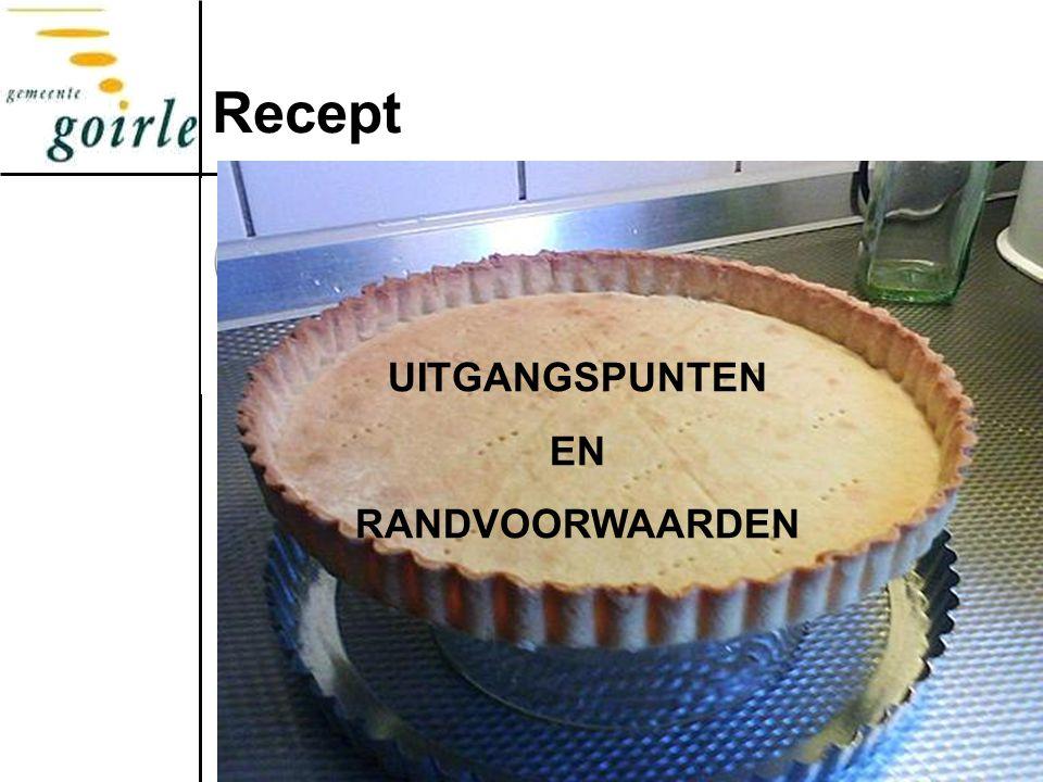 Recept UITGANGSPUNTEN EN RANDVOORWAARDEN