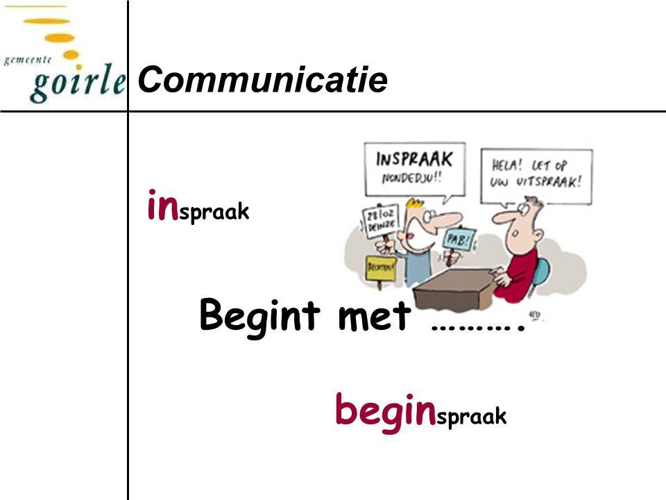 Communicatie inspraak Begint met ………. beginspraak