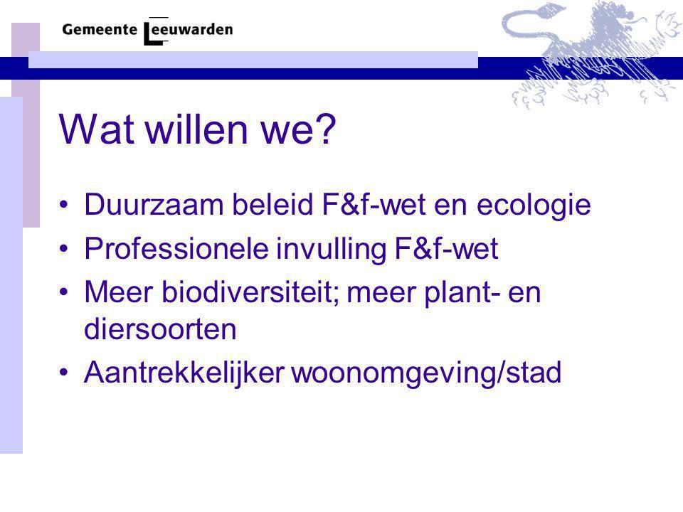 Wat willen we Duurzaam beleid F&f-wet en ecologie