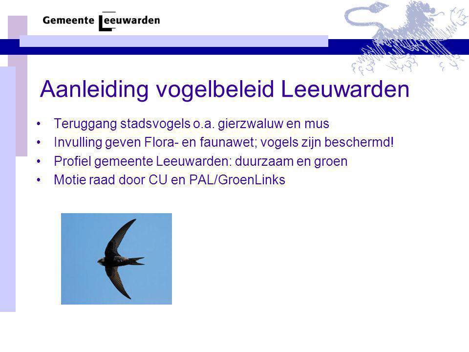 Aanleiding vogelbeleid Leeuwarden