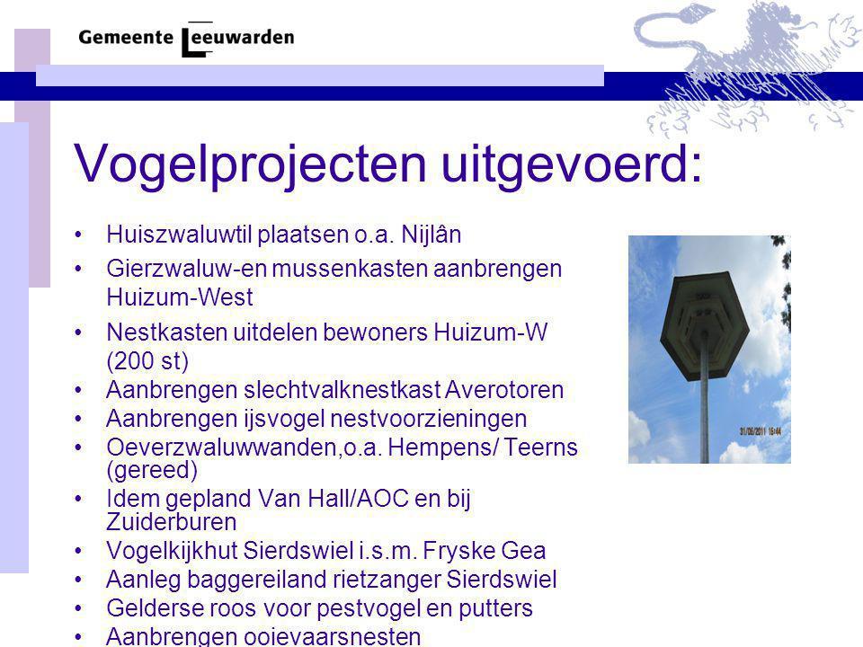 Vogelprojecten uitgevoerd: