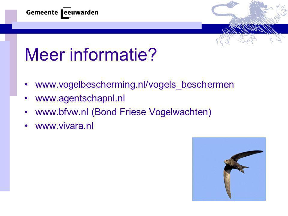 Meer informatie www.vogelbescherming.nl/vogels_beschermen