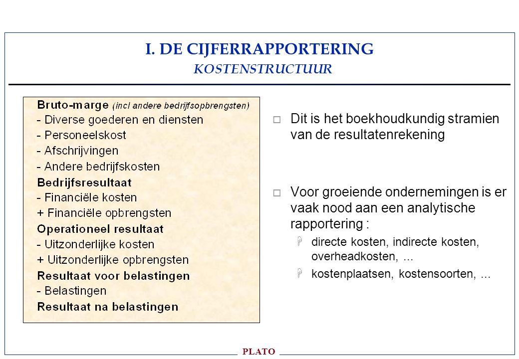 I. DE CIJFERRAPPORTERING KOSTENSTRUCTUUR