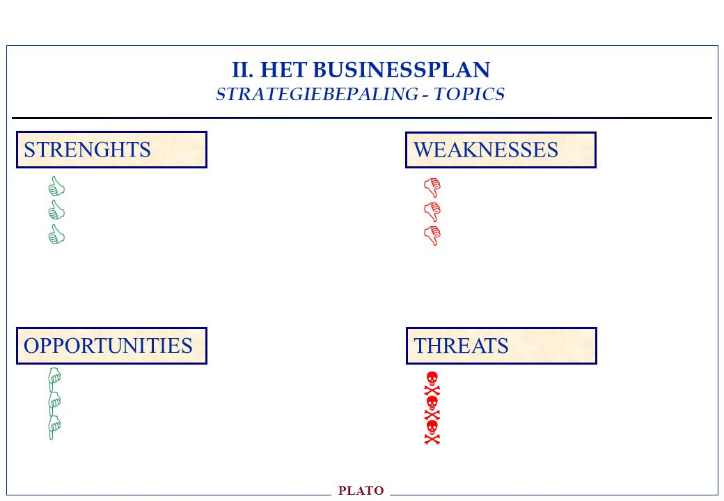 II. HET BUSINESSPLAN STRATEGIEBEPALING - TOPICS