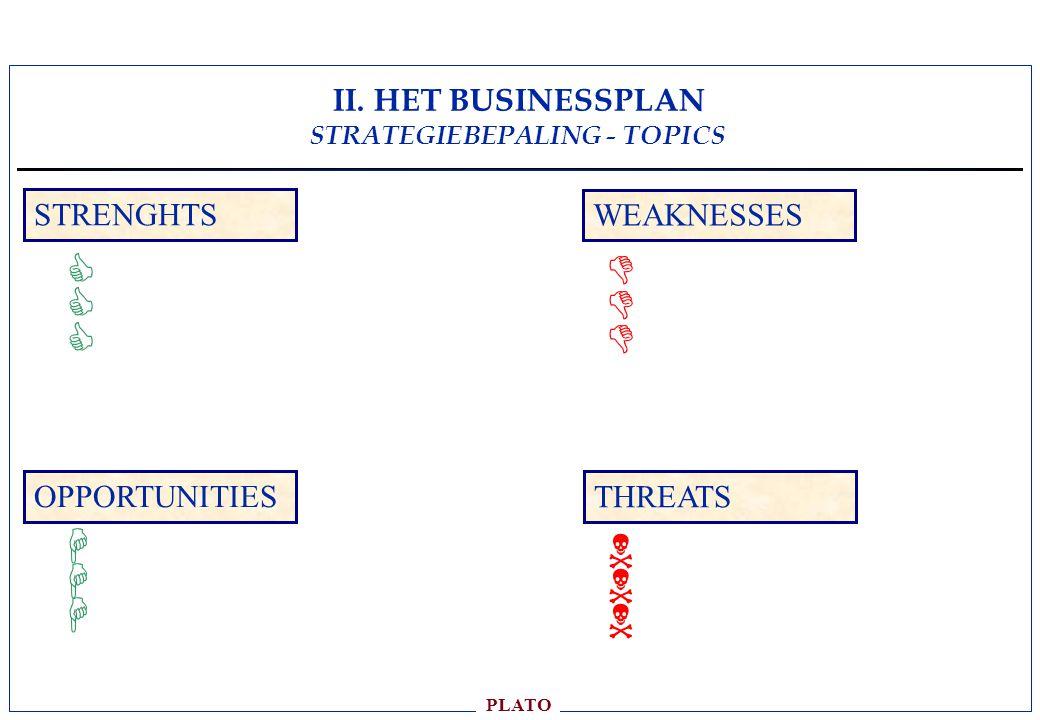 II. HET BUSINESSPLAN STRATEGIEBEPALING - TOPICS