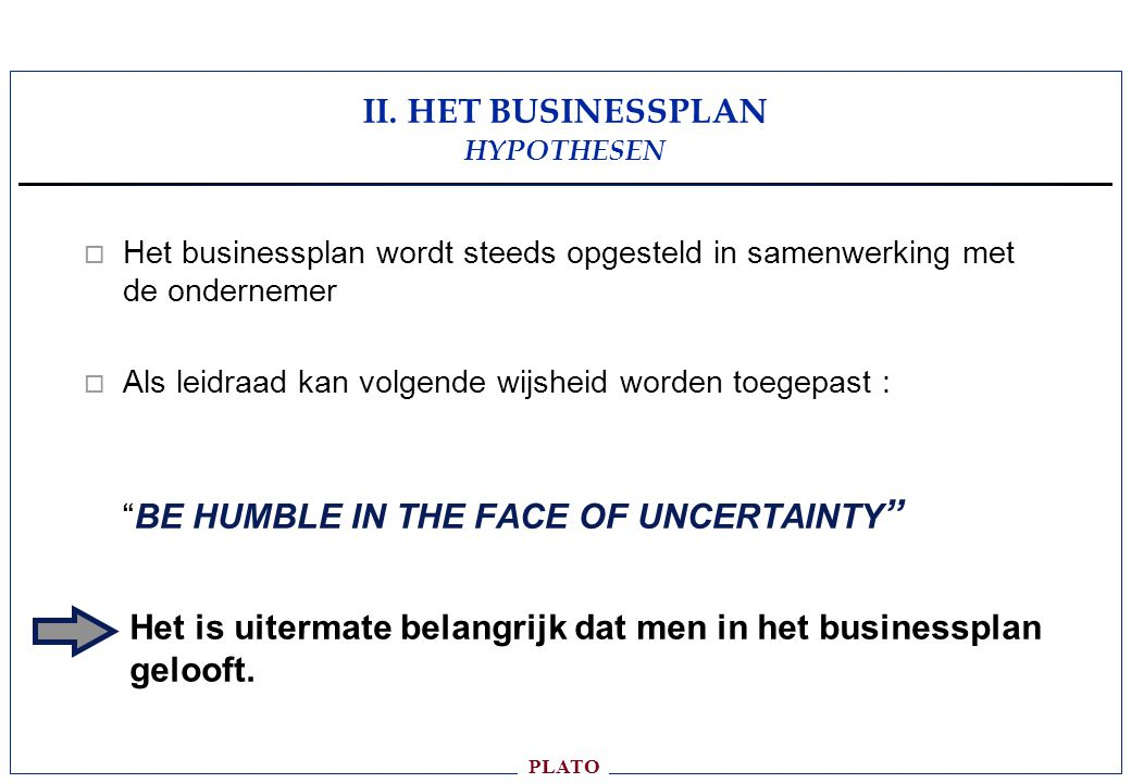 II. HET BUSINESSPLAN HYPOTHESEN