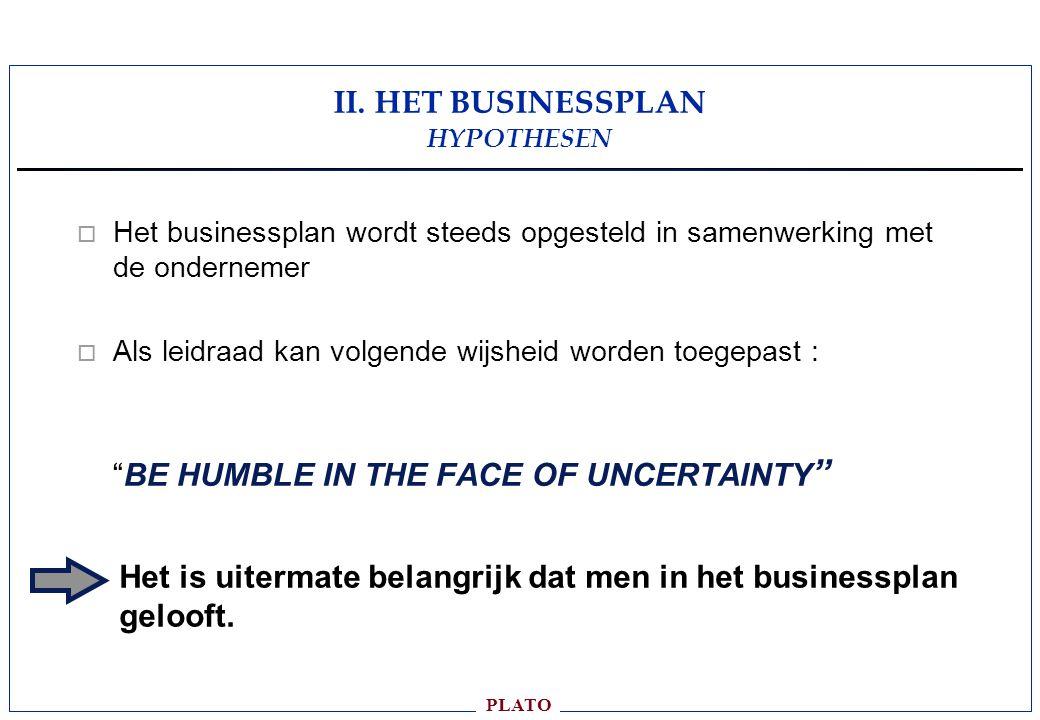 II. HET BUSINESSPLAN HYPOTHESEN