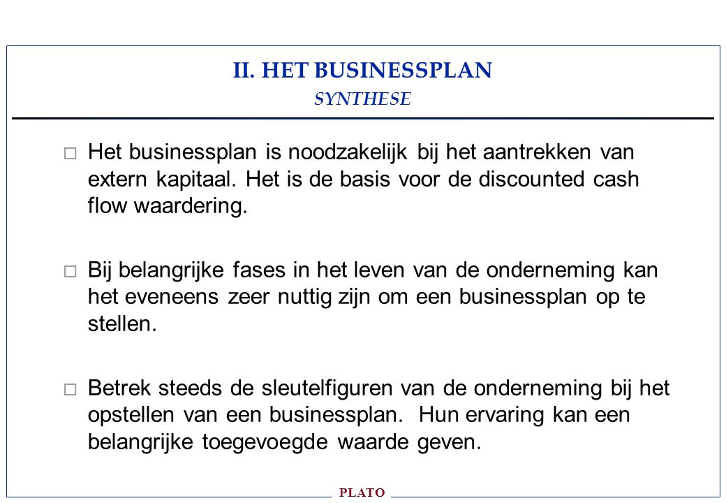 II. HET BUSINESSPLAN SYNTHESE