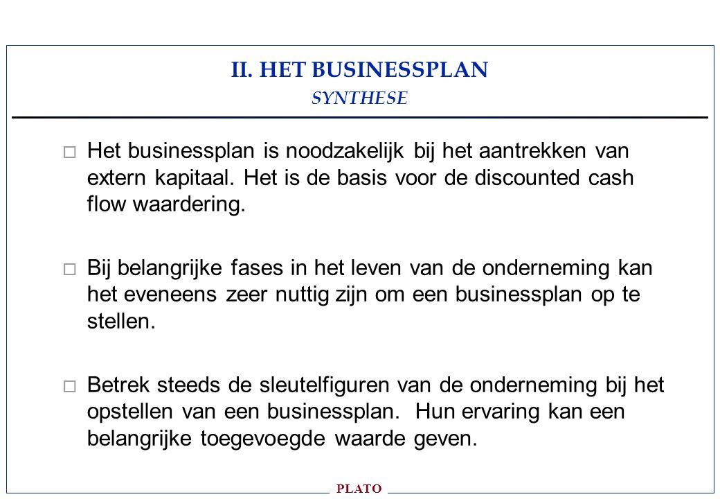 II. HET BUSINESSPLAN SYNTHESE