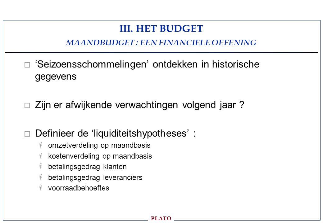 III. HET BUDGET MAANDBUDGET : EEN FINANCIELE OEFENING