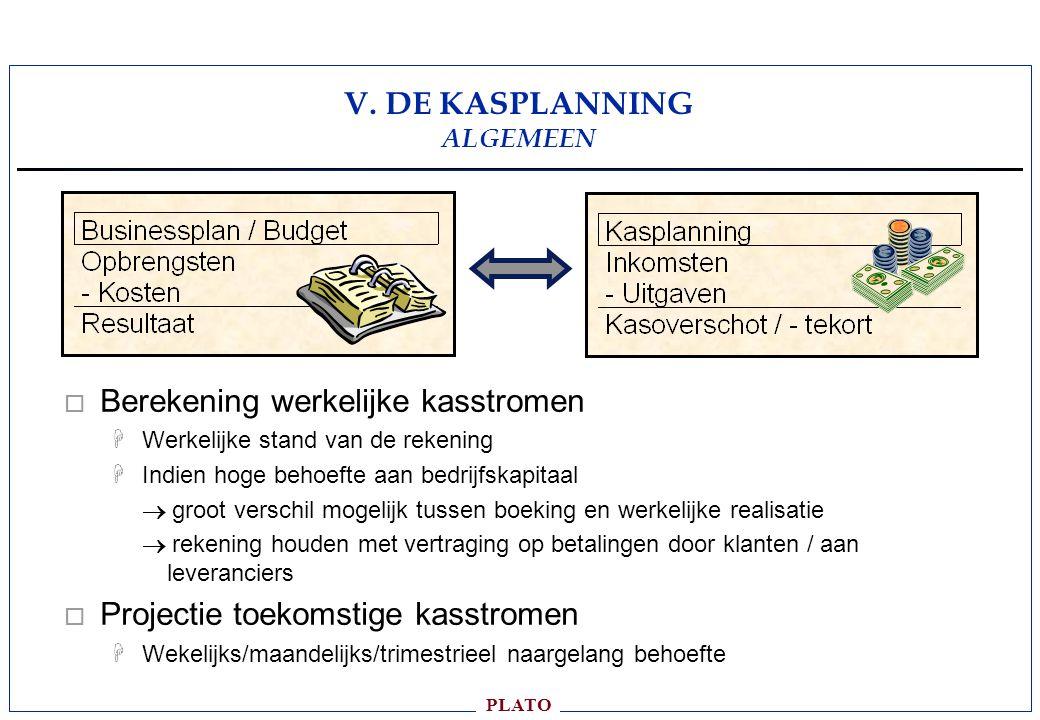 V. DE KASPLANNING ALGEMEEN