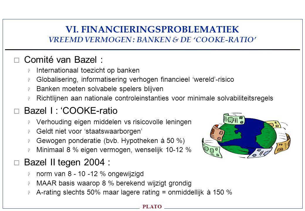VI. FINANCIERINGSPROBLEMATIEK VREEMD VERMOGEN : BANKEN & DE 'COOKE-RATIO'