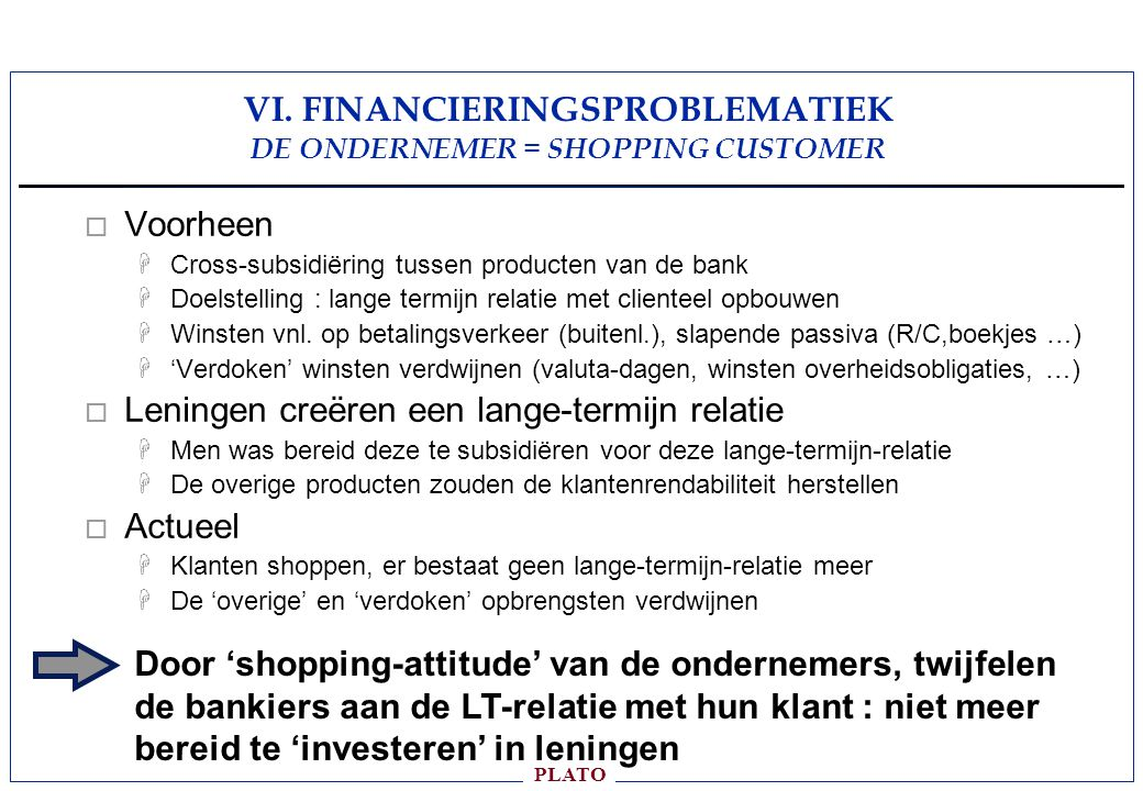 VI. FINANCIERINGSPROBLEMATIEK DE ONDERNEMER = SHOPPING CUSTOMER