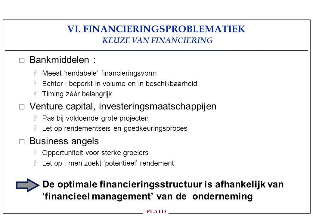 VI. FINANCIERINGSPROBLEMATIEK KEUZE VAN FINANCIERING