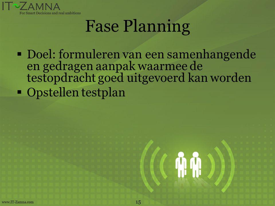 Fase Planning Doel: formuleren van een samenhangende en gedragen aanpak waarmee de testopdracht goed uitgevoerd kan worden.